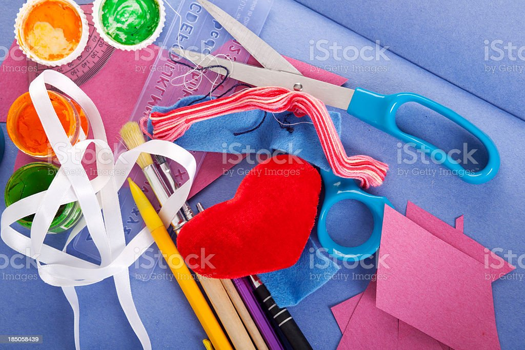 Various colorful arts and crafts supplies stock photo