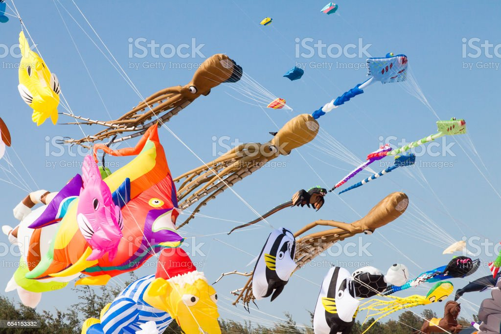 Various colorful kites flying in blue sky. Stingrays, Koi fish, quid and others. stock photo