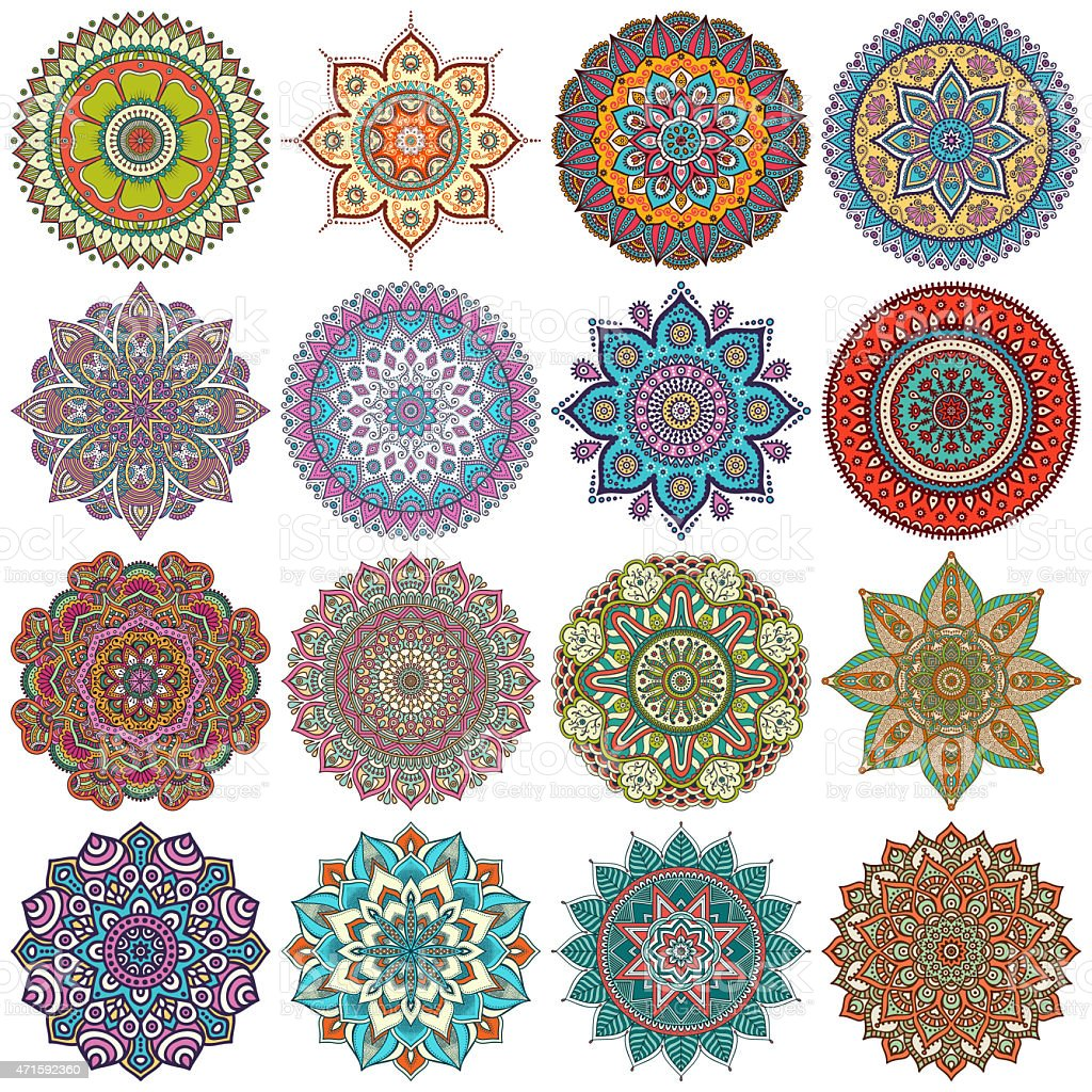 Various colorful mandala vectors stock photo