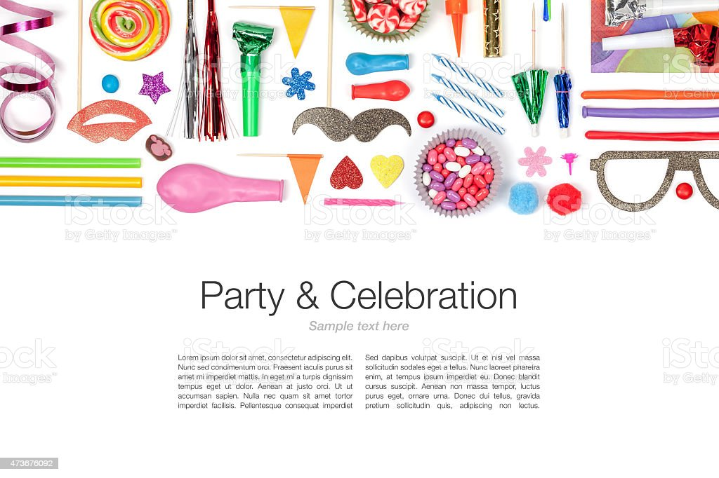 Various colorful party and celebration elements on white stock photo
