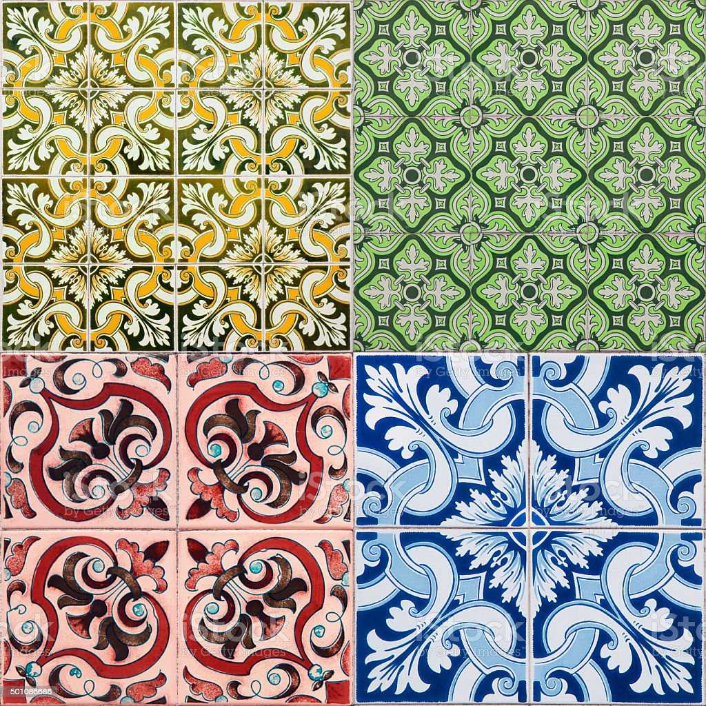 Various colorful tiles stock photo