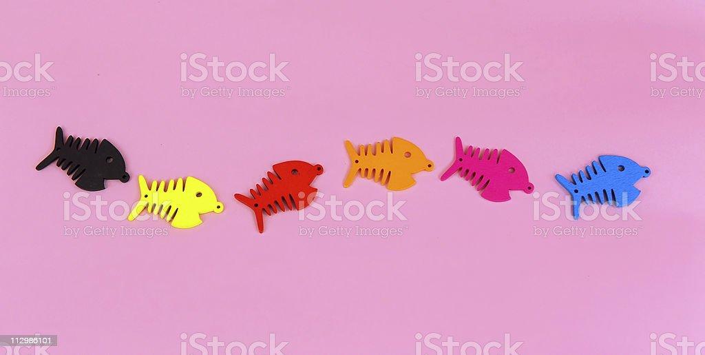 Various colors fishbones stock photo