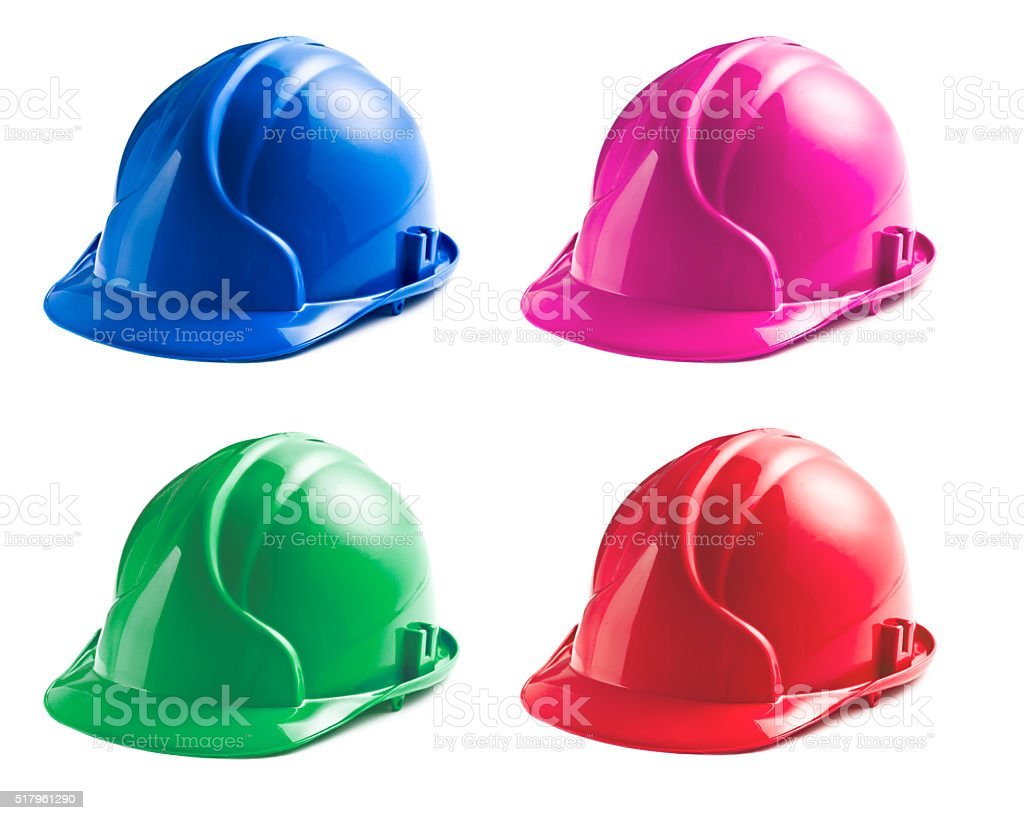 various colors of hard hats stock photo
