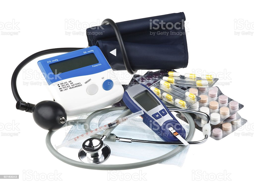 Various colour pills and medical tools royalty-free stock photo