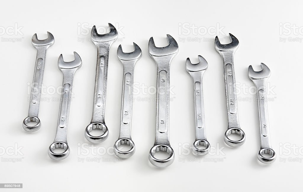 Various combination wrenches (isolated) stock photo