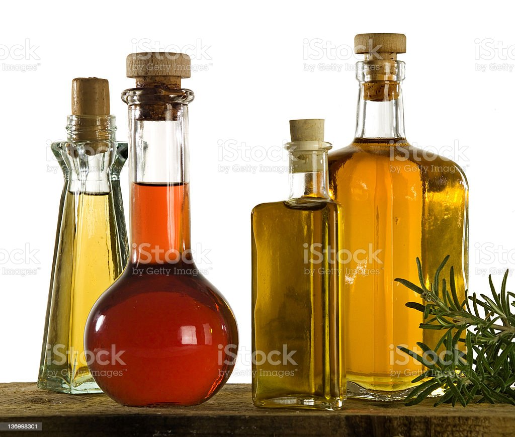 Various containers and types of olive oil royalty-free stock photo