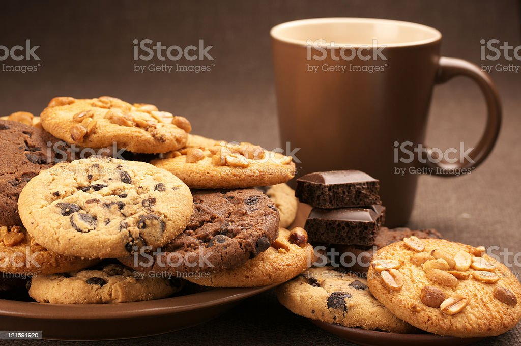 Various cookies and coffee royalty-free stock photo