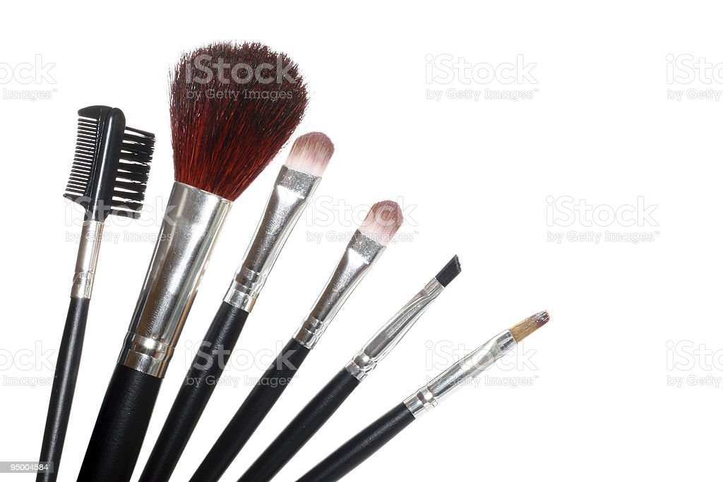 Various cosmetic brushes and tools royalty-free stock photo
