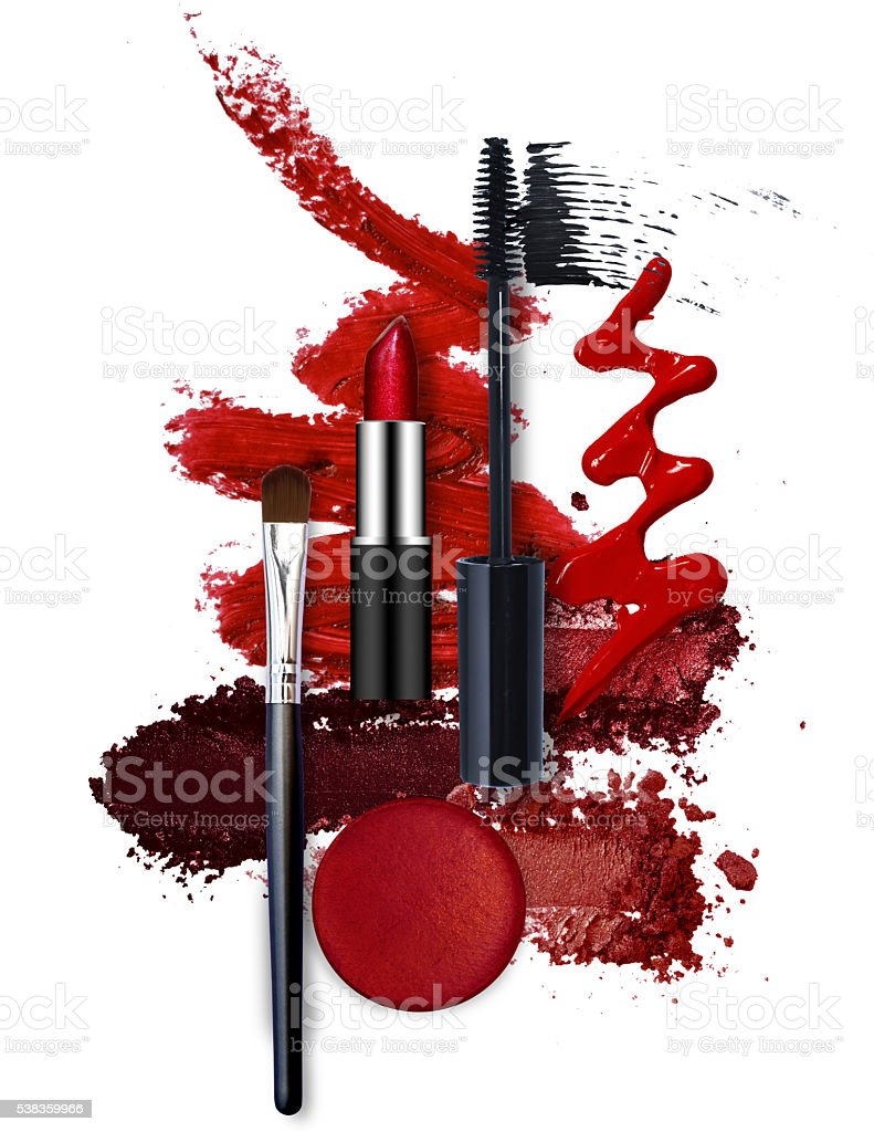 various cosmetic red theme stock photo