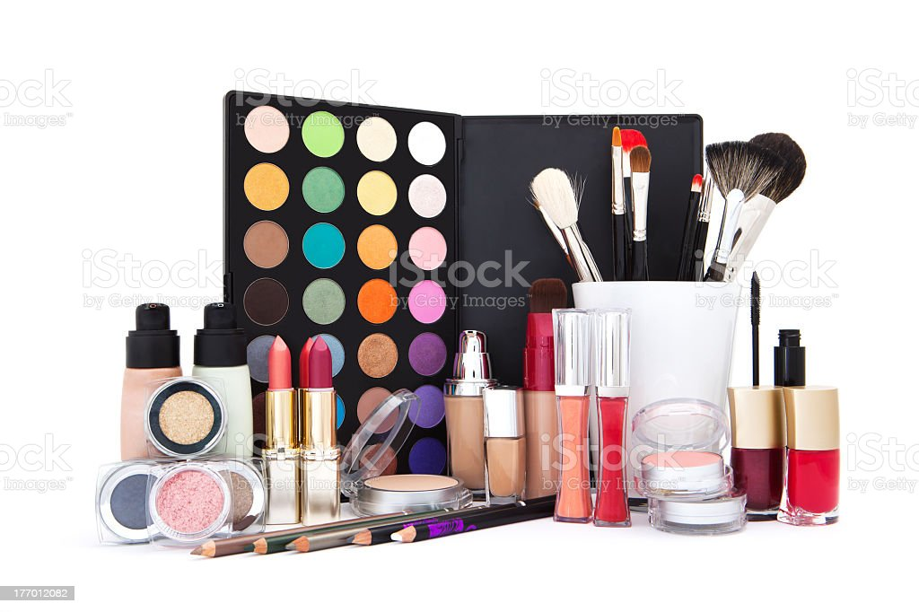 Various cosmetics products isolated on white stock photo