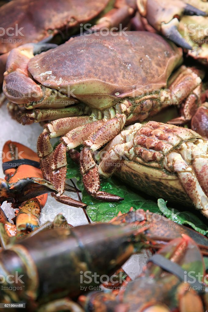 Various crabs on the market stock photo