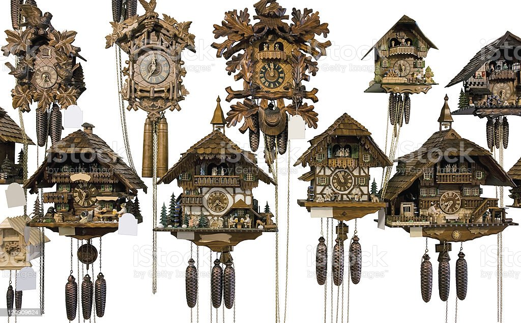 various cuckoo clocks stock photo