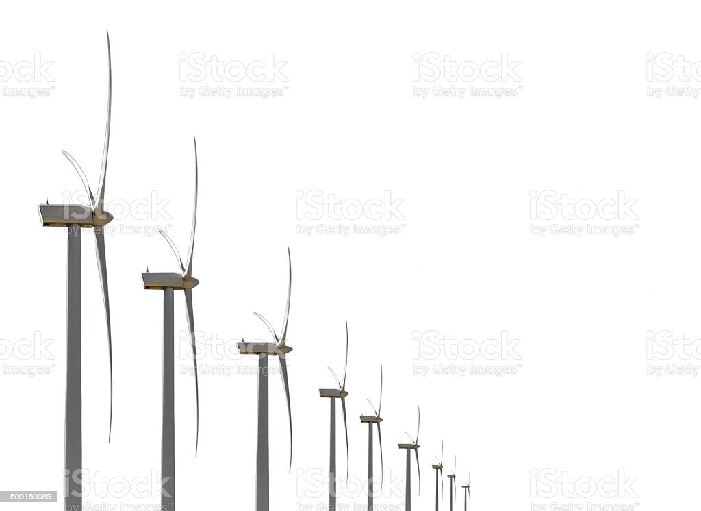 various decreasing wind turbines isolated on white stock photo