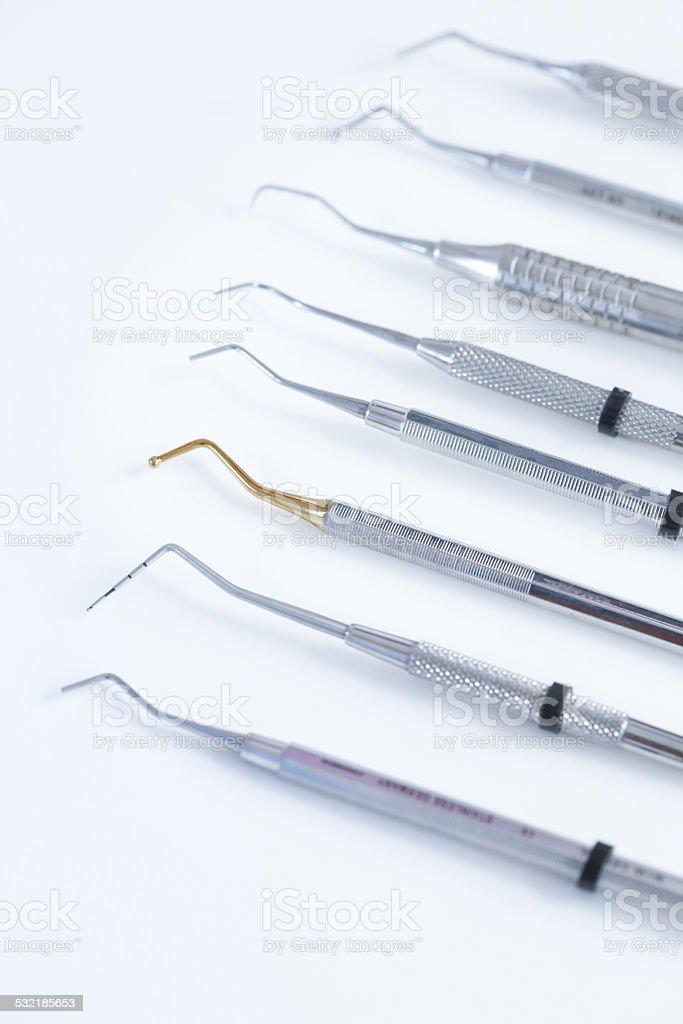 Various dental instruments stock photo