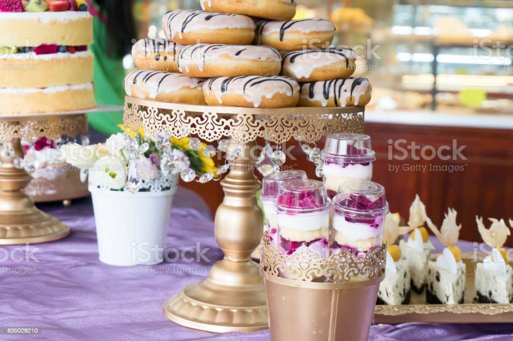 Various Dessert Sweet Cupcakes stock photo