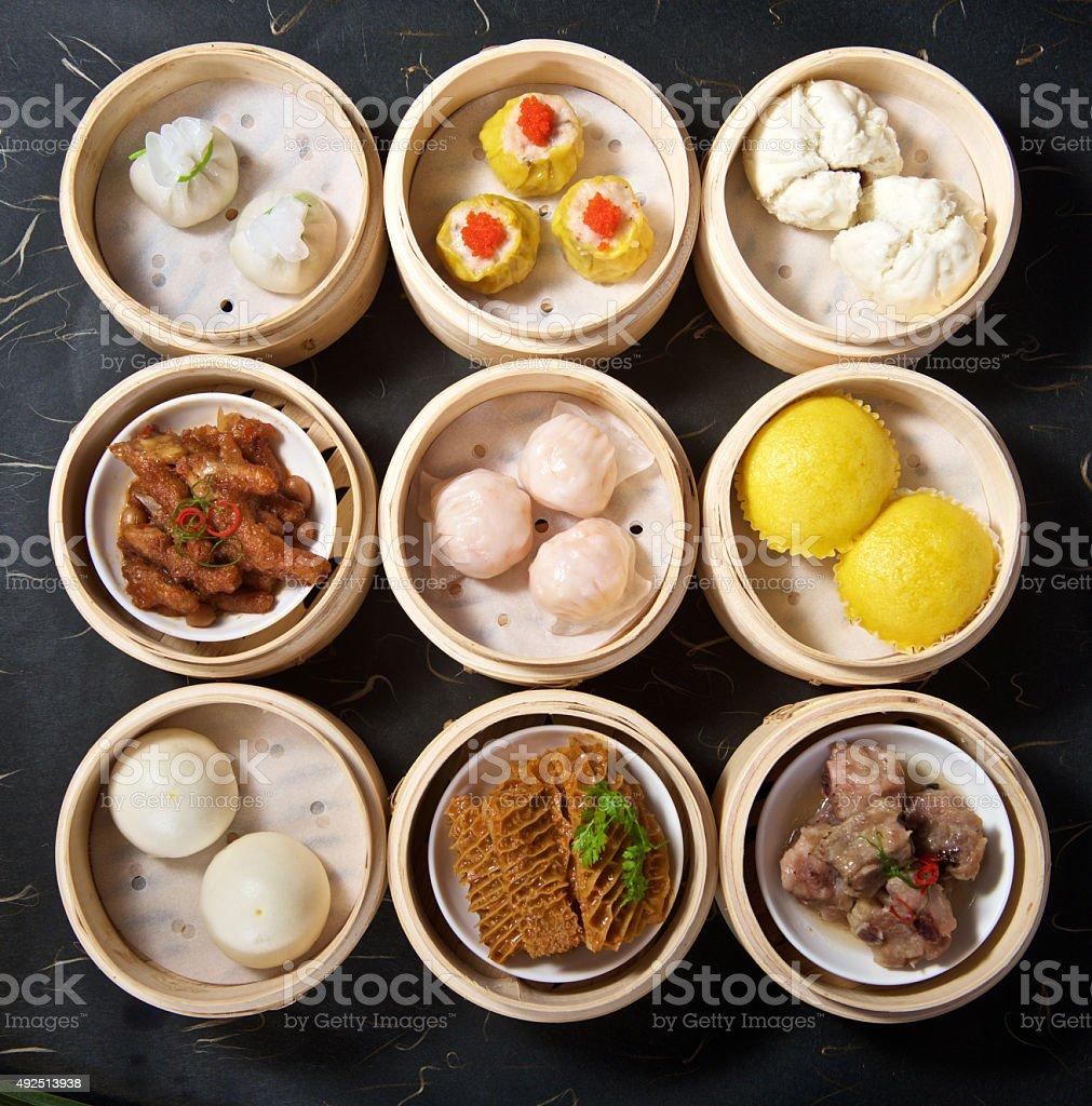 Various Dimsum Set from Top stock photo