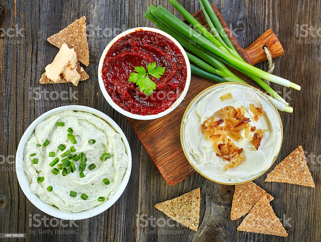 various dip sauces stock photo