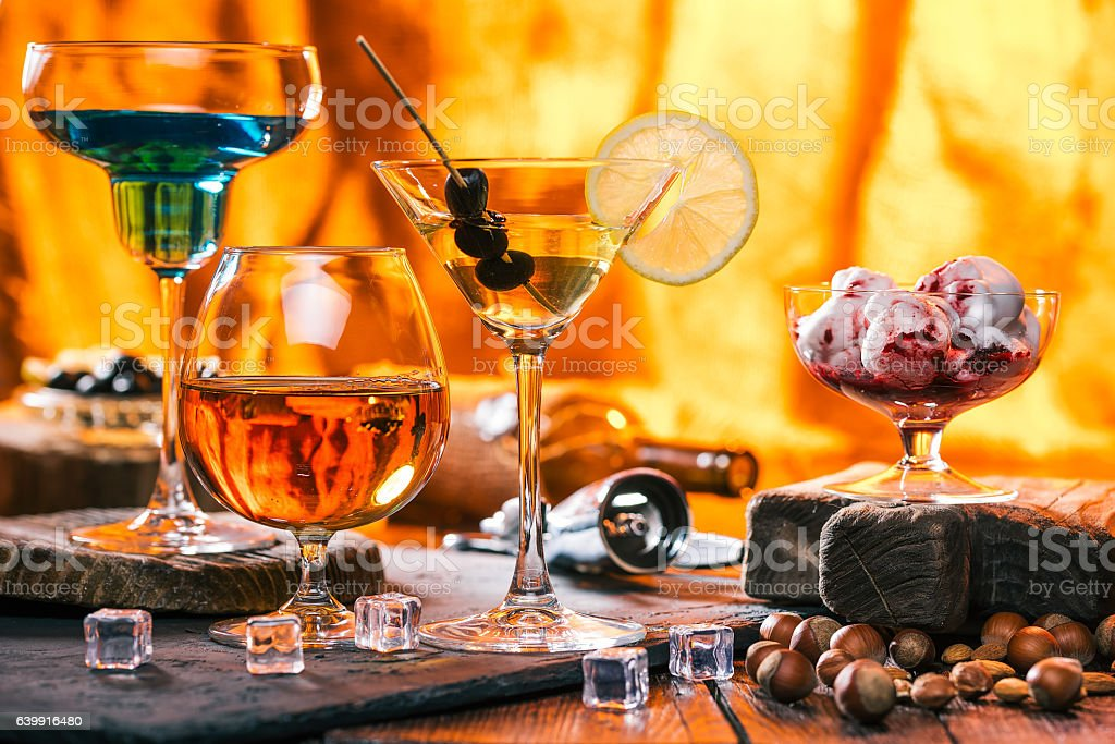 Various drinks on bar counter stock photo