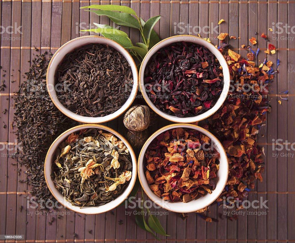 Various dry tea royalty-free stock photo