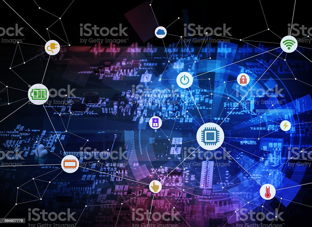 various electric component or function and electric circuit board stock photo