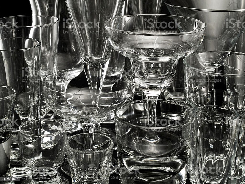 Various Empty Cocktail Glasses royalty-free stock photo