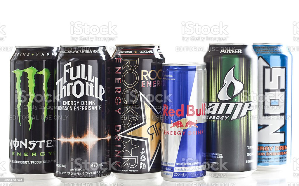Various Energy Drink Brands stock photo