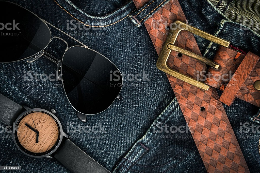 Various fashions in blue jeans background stock photo