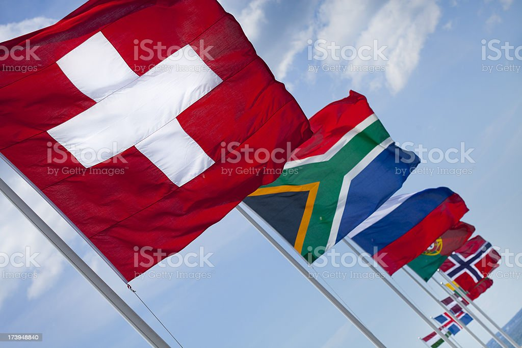 Various flags stock photo