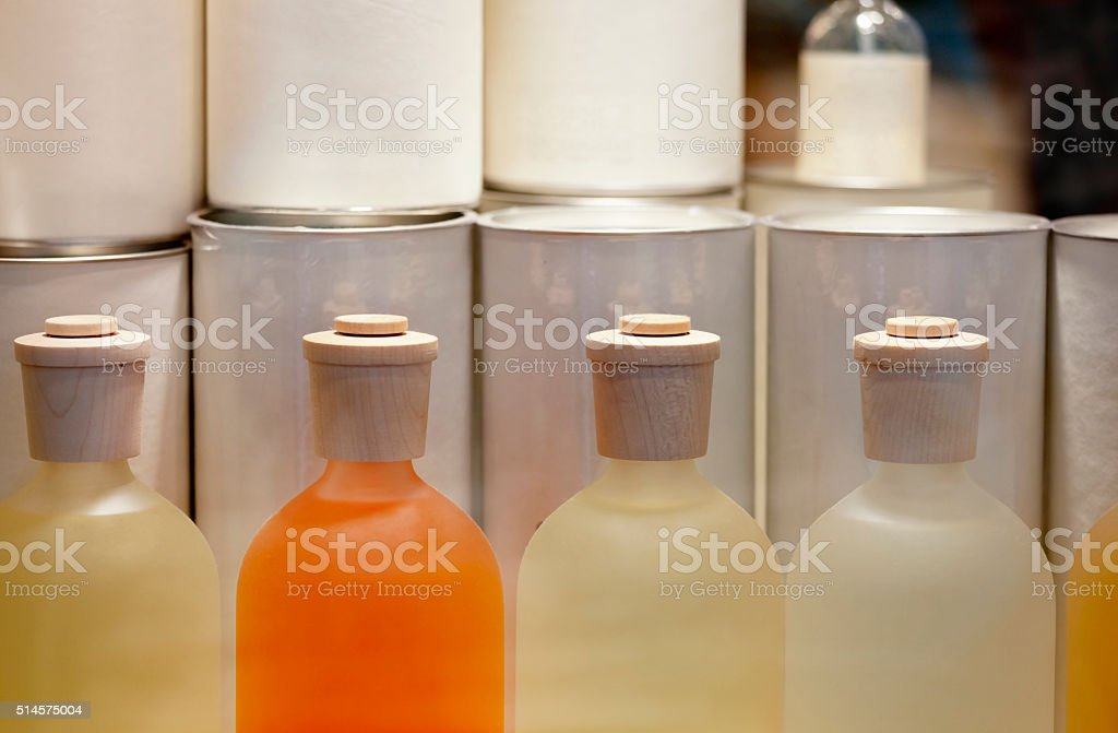 Various Fragranced Liquid Toiletry Products stock photo