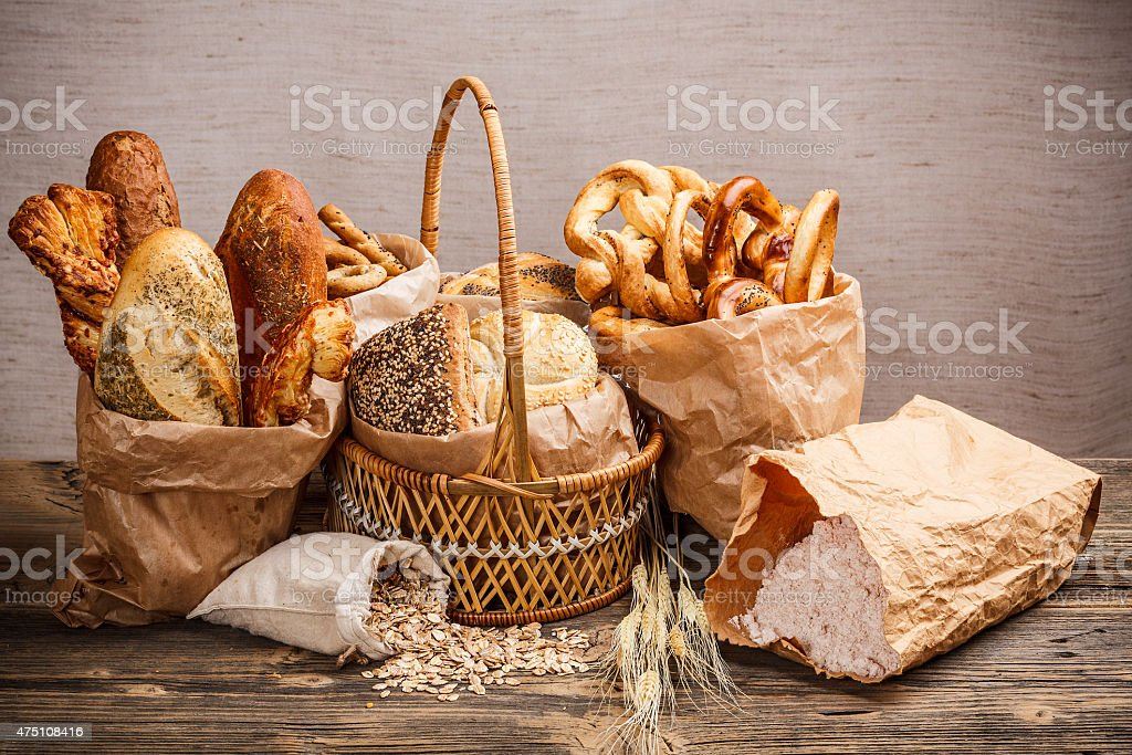 Various fresh baked goods stock photo