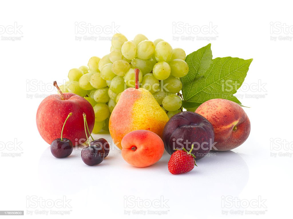 Various fruits isolated on the white background royalty-free stock photo