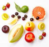 Various Fruits On White