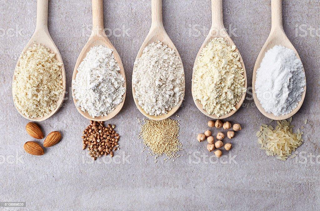 Various gluten free flour stock photo