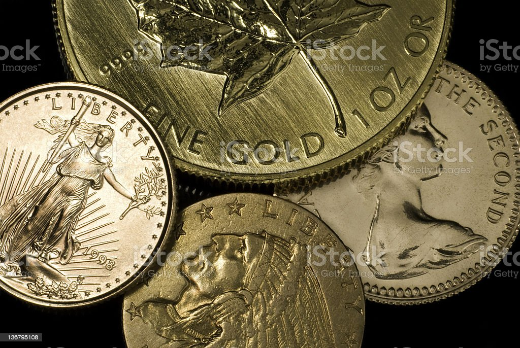 Various Gold Coins royalty-free stock photo