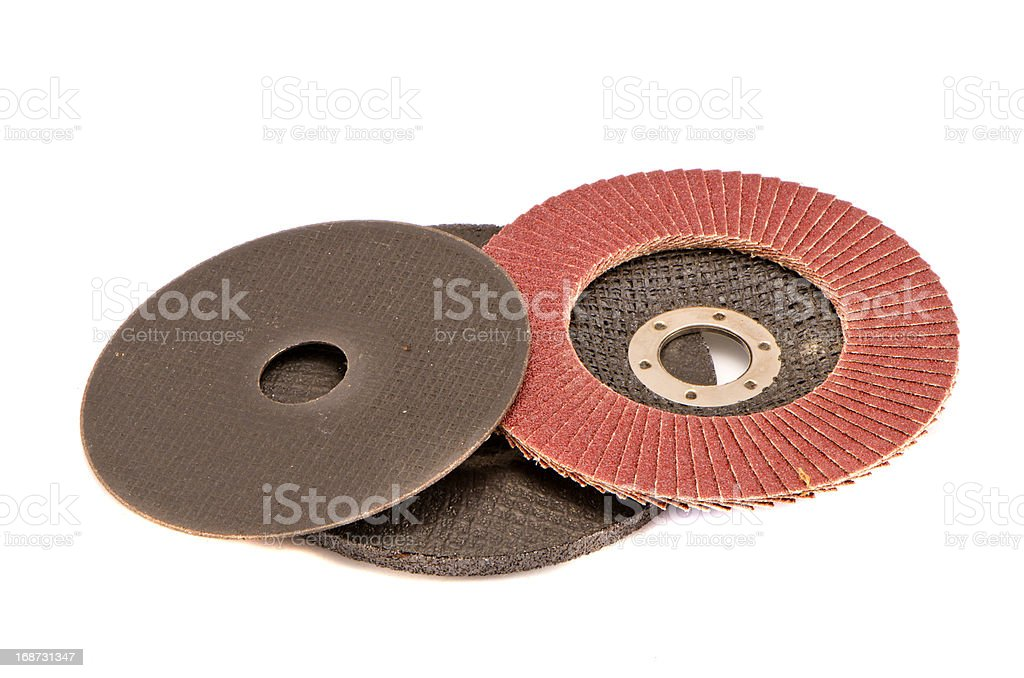 various grinding discs isolated on white royalty-free stock photo