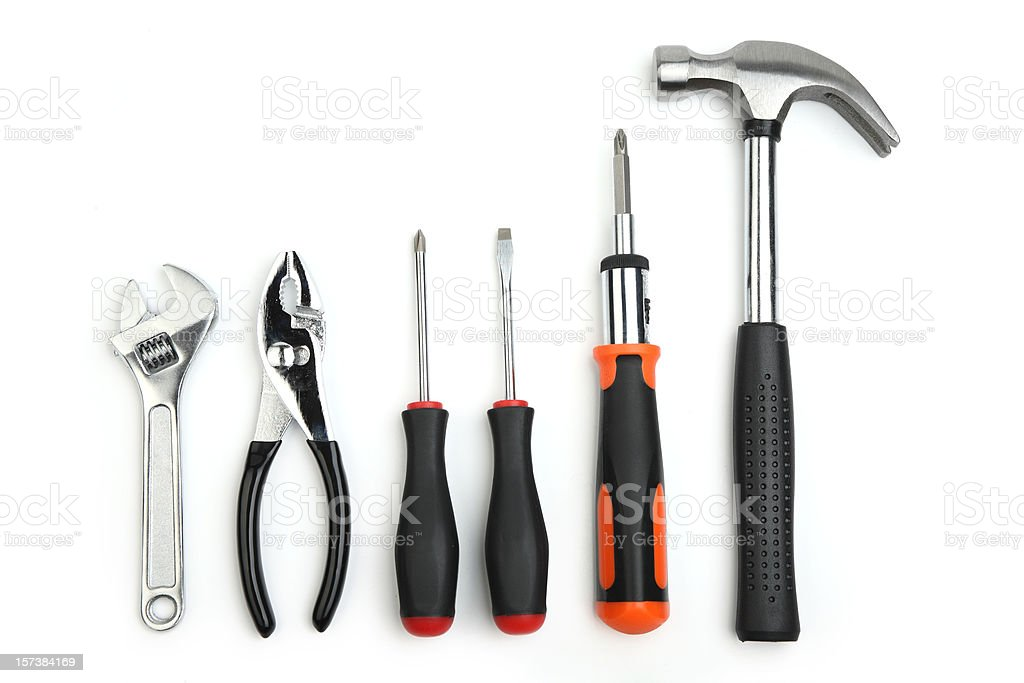 Various hand tools with a white background  stock photo