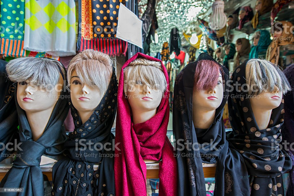 Various headscarfs (hijab) in a bazaar shop, Iran stock photo