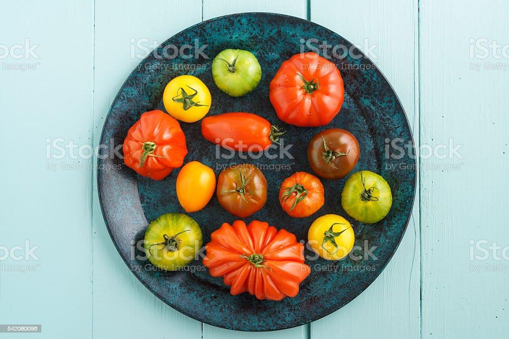 Various heirloom tomatoes stock photo