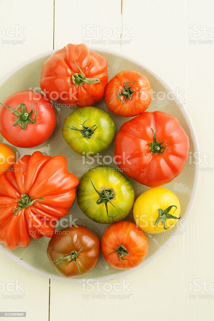 Various heirloom tomatoes stock photo