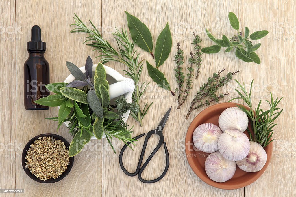 Various herbal medicine ingredients from above stock photo
