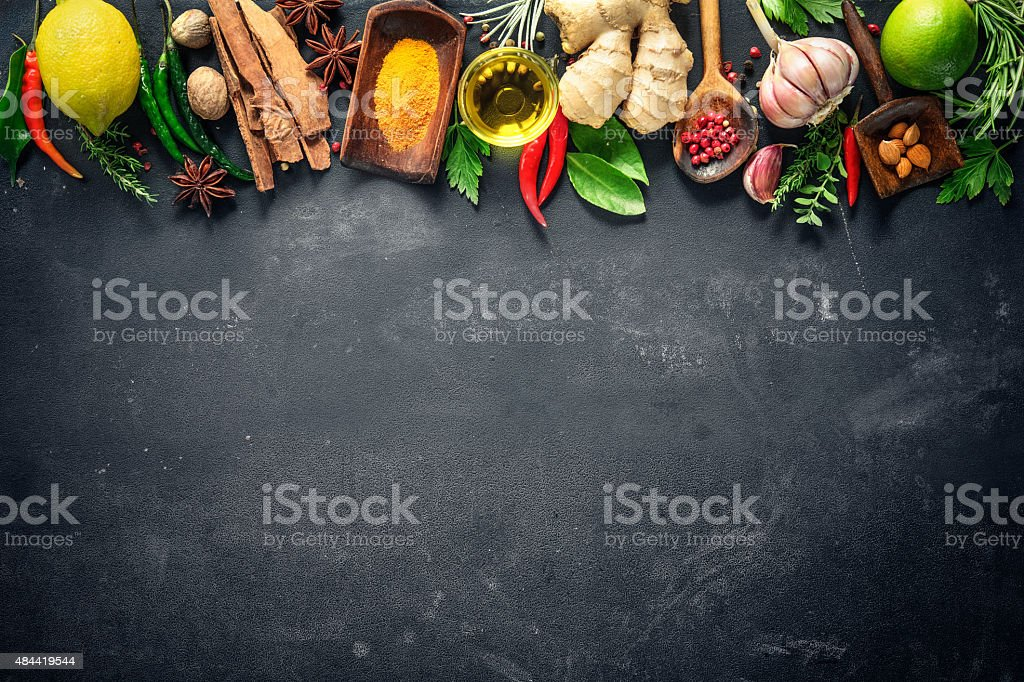 Various herbs and spices royalty-free stock photo