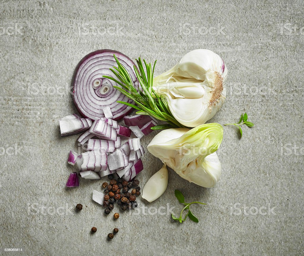 various herbs and vegetables stock photo