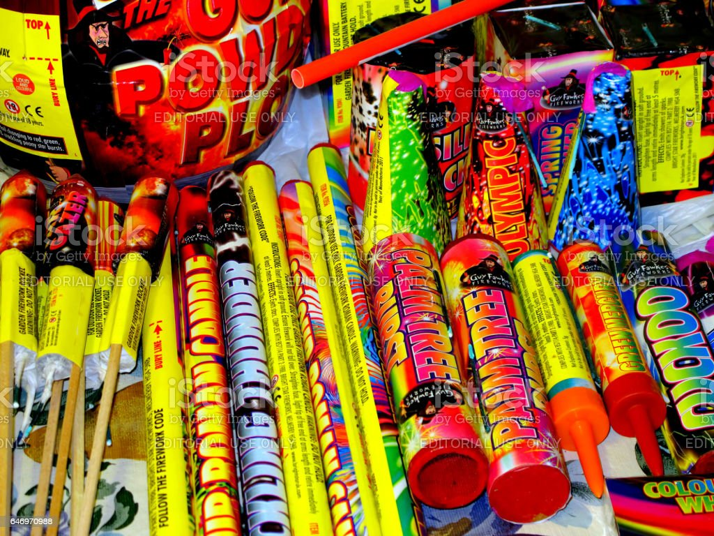 Various home fireworks. stock photo