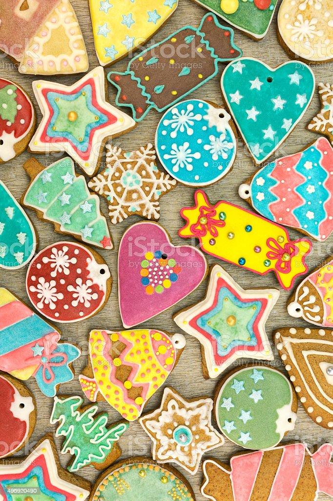 various homemade christmas cookies stock photo
