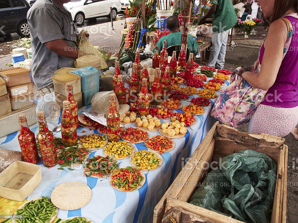Various hot peppers for sale royalty-free stock photo