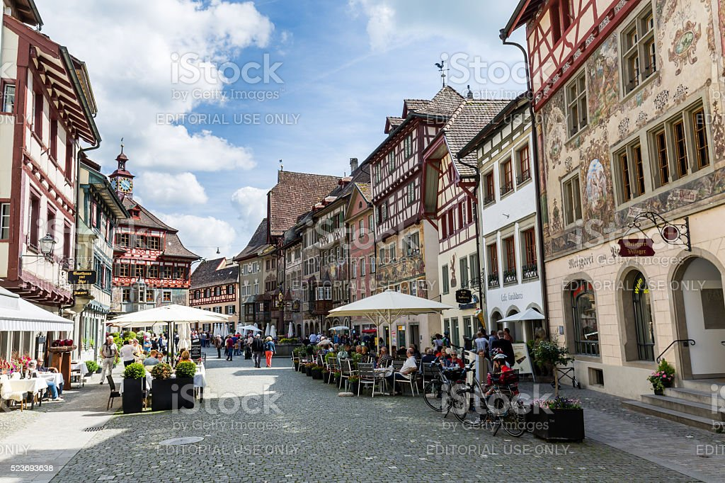 Various houses in the old town of Stein am Rhein stock photo