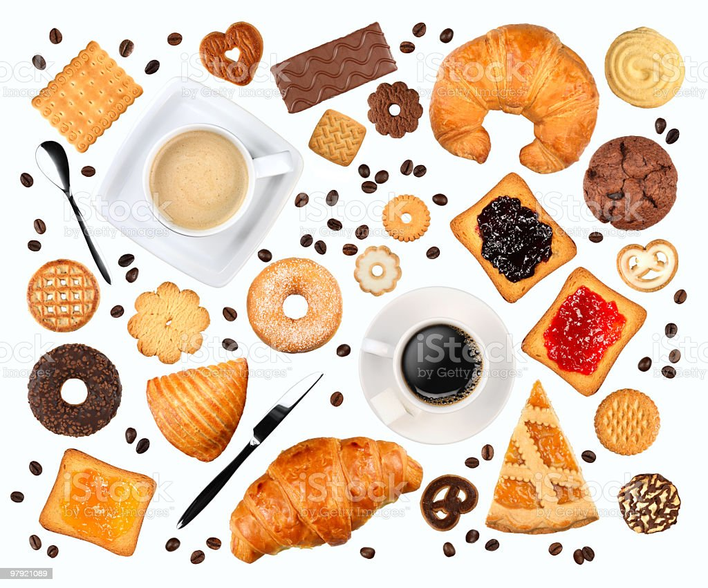 Various images of items consumed at breakfast  stock photo