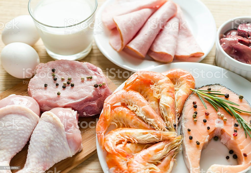 Various ingredients essential to a high protein diet stock photo