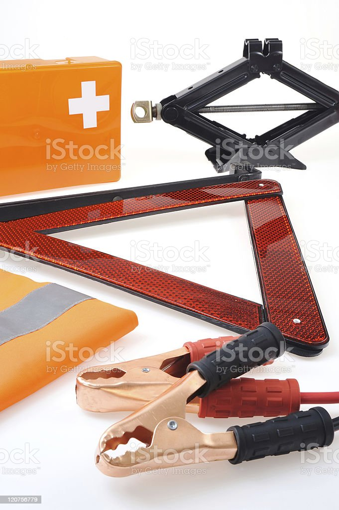 Various items from a car emergency kit  royalty-free stock photo