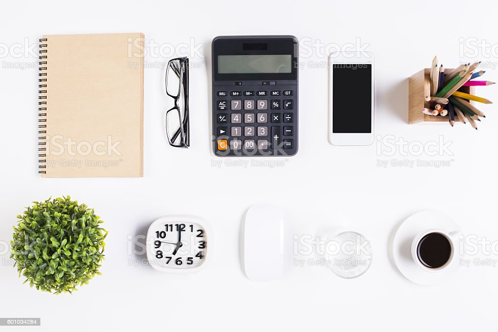 Various items on office table stock photo